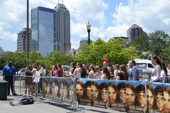 Fans line up outside Paper Towns Indy event.