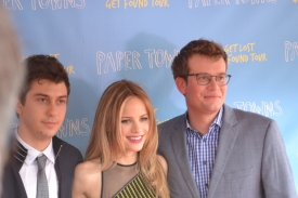 Nat Wolff, Halston Sage, and John Green on the red carpet.